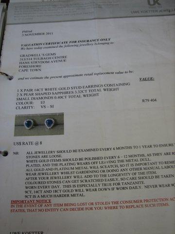 Sapphire & Diamond Earrings Certificate