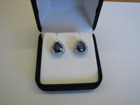 18ct White Gold Natural Sapphire & Diamond Earrings